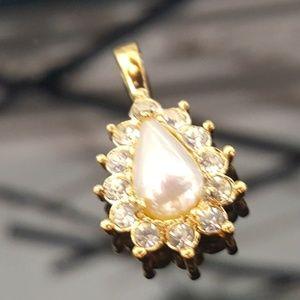 Faux Pearl n White Diamond Pendant